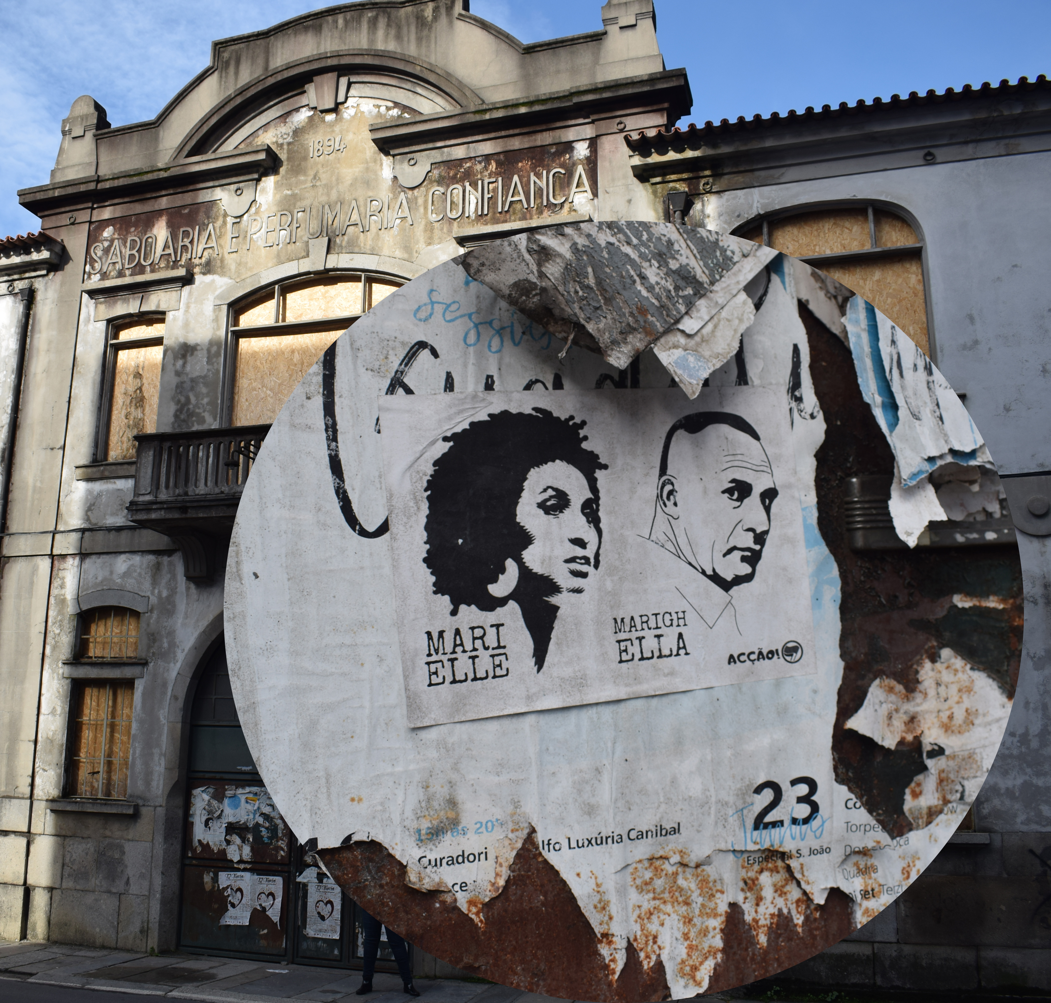 <h4>Confiança Marielle</h4><p>Figura 02: Cartaz Marielle Franco e Marighella, na porta da antiga Saboaria e Perfumaria Confiança</p>