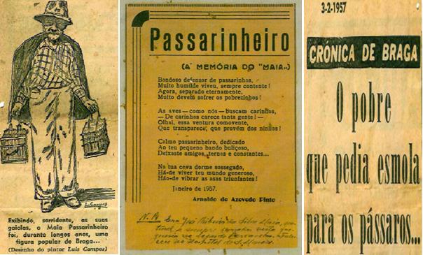 """<h4>Memória do Maia</h4><p>Figura 02: Maia Passarinheiro por Lula Campos e poema """"Passarinheiro"""", de Arnaldo de Azevedo Pinto </p>"""