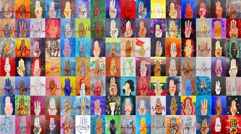 Pintura de protesto organizada coletivamente no Mianmar | Retirado de ArtNet News https://news.artnet.com/art-world/myanmar-artists-protest-coup-1943543