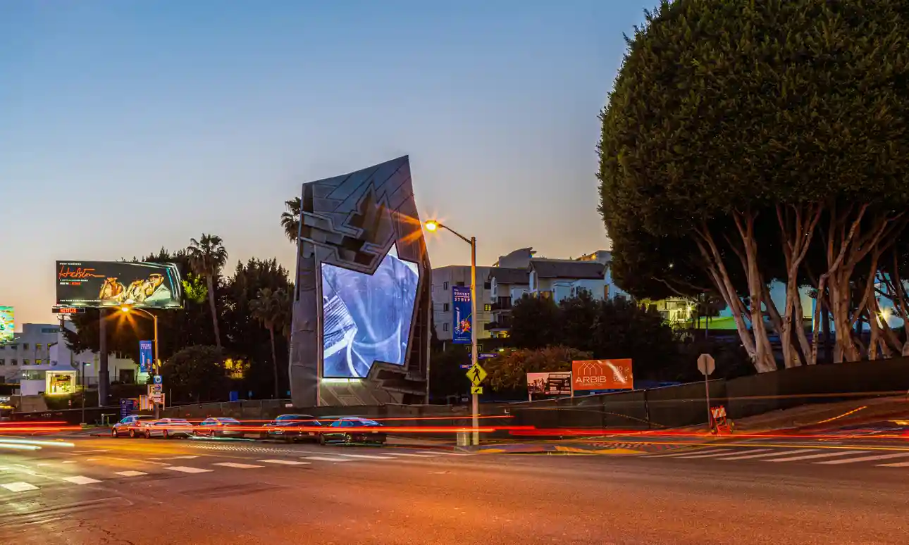 Orange Barrel Media | Retrieved from https://www.theguardian.com/artanddesign/2021/may/10/sunset-strip-west-hollywood-digital-billboards