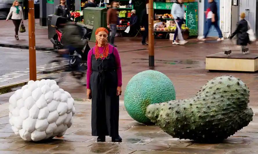 Retrieved from https://www.theguardian.com/uk-news/2021/oct/01/fruit-and-veg-sculptures-in-hackney-honour-windrush-generation